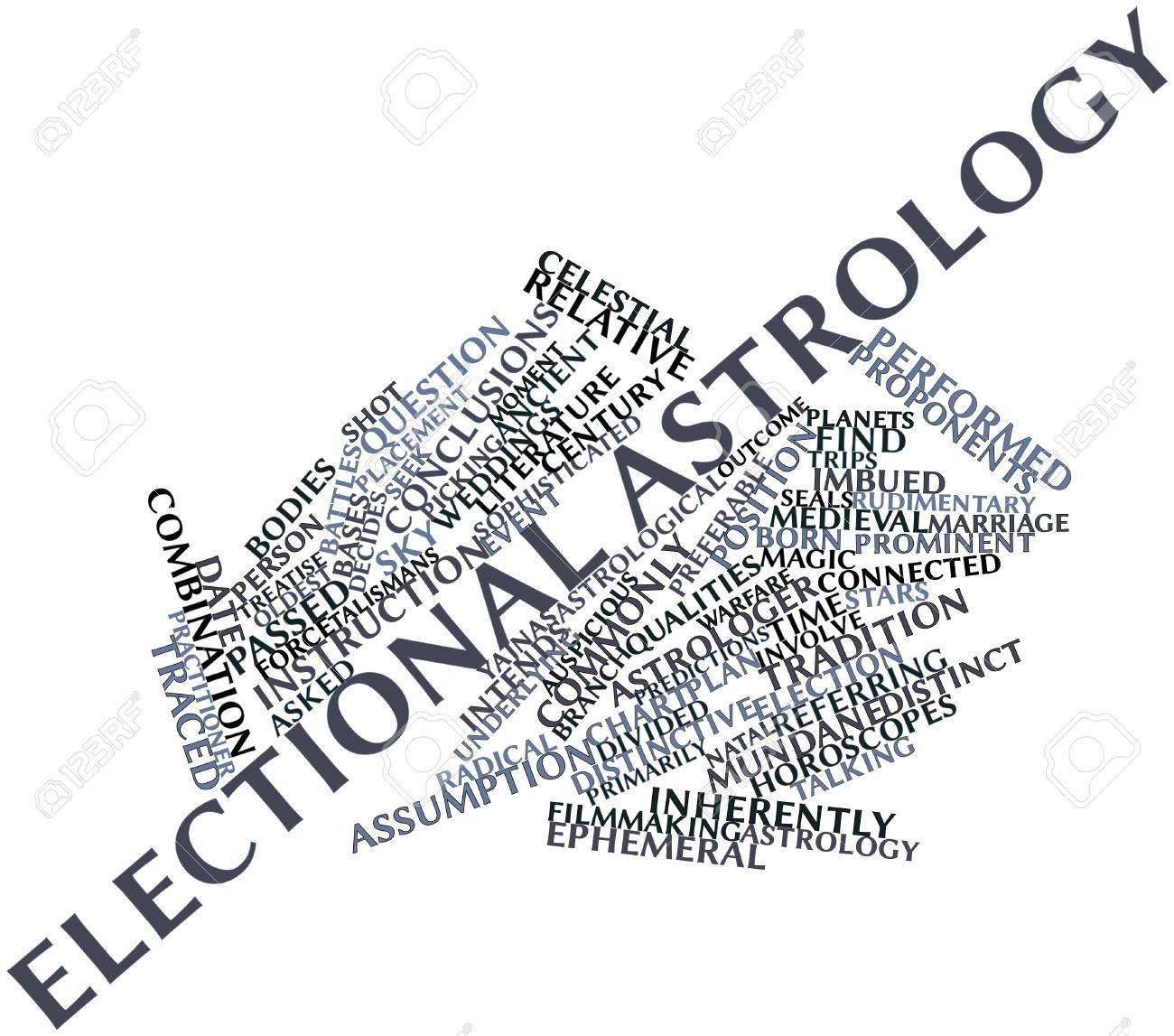 Abstract word cloud for Electional astrology with related tags and terms Stock Photo - 17319542