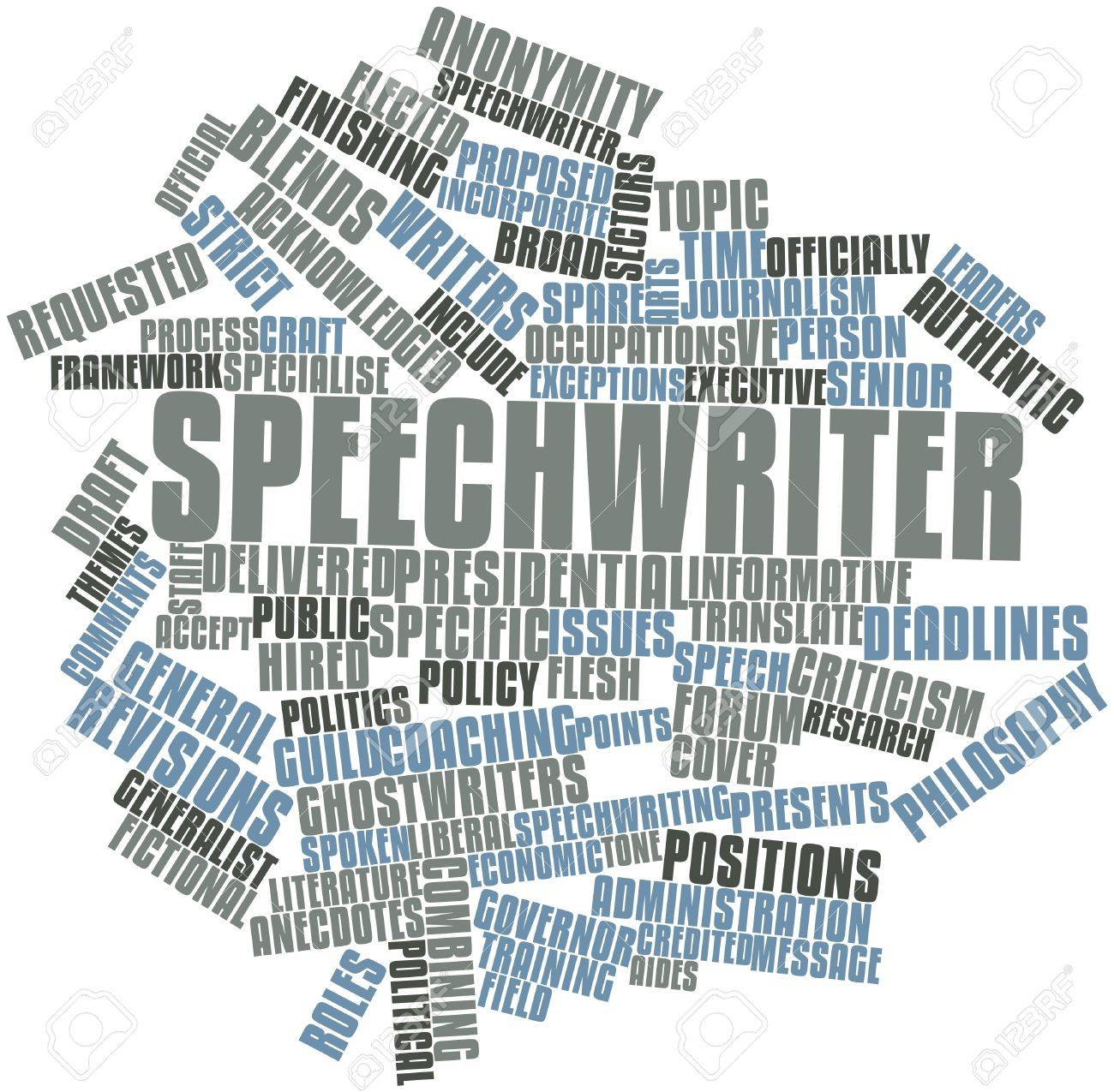 Abstract word cloud for Speechwriter with related tags and terms Stock Photo - 17319825