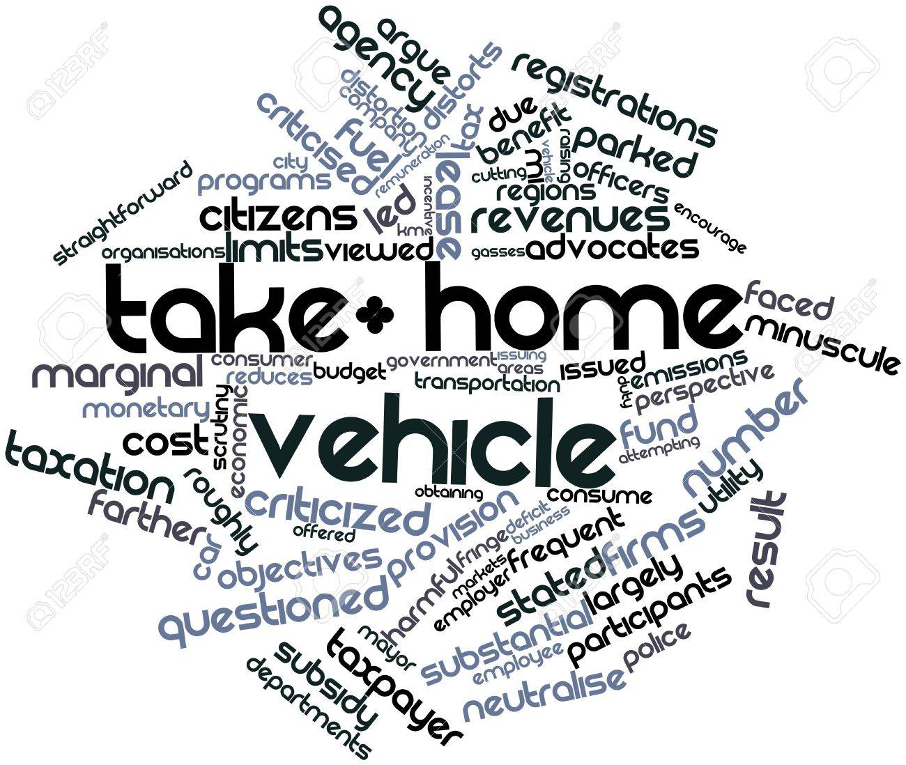 Abstract word cloud for Take-home vehicle with related tags and terms Stock Photo - 17319534