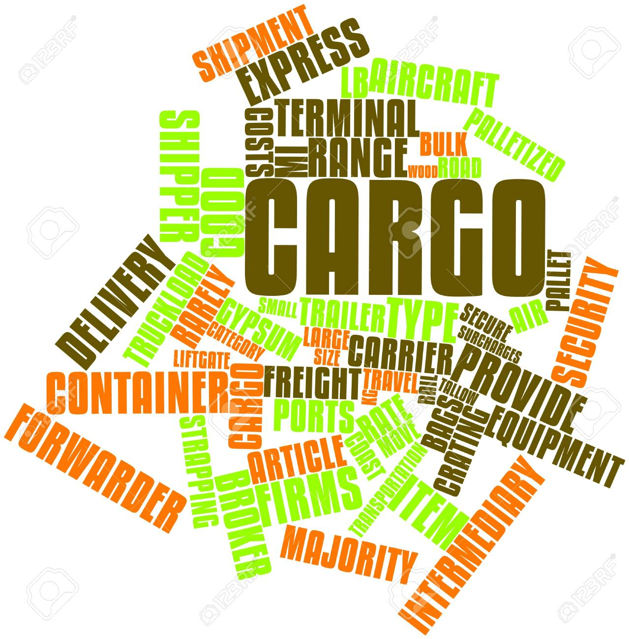 Abstract word cloud for Cargo with related tags and terms Stock Photo - 17397658