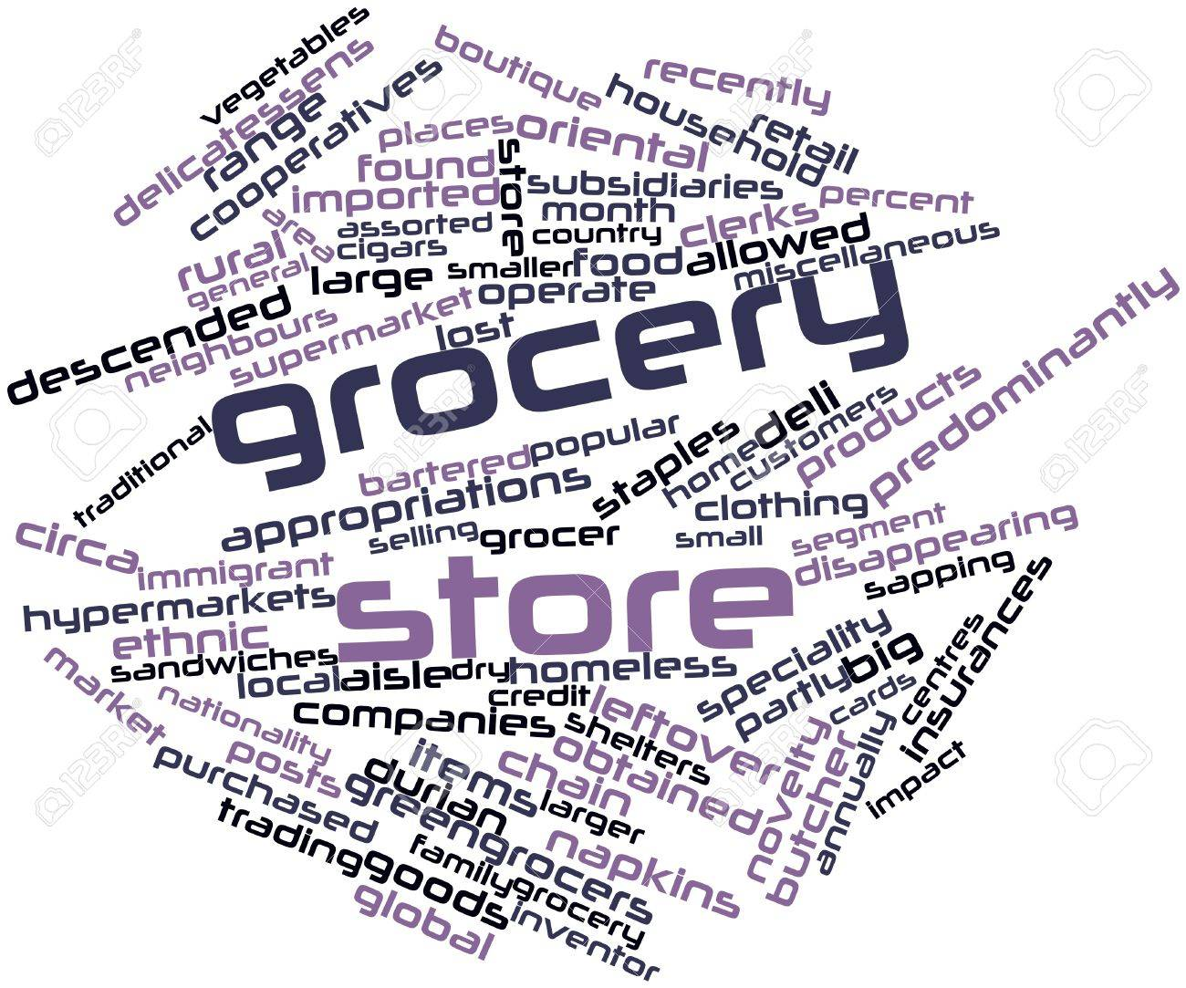 Abstract word cloud for Grocery store with related tags and terms Stock Photo - 17397678