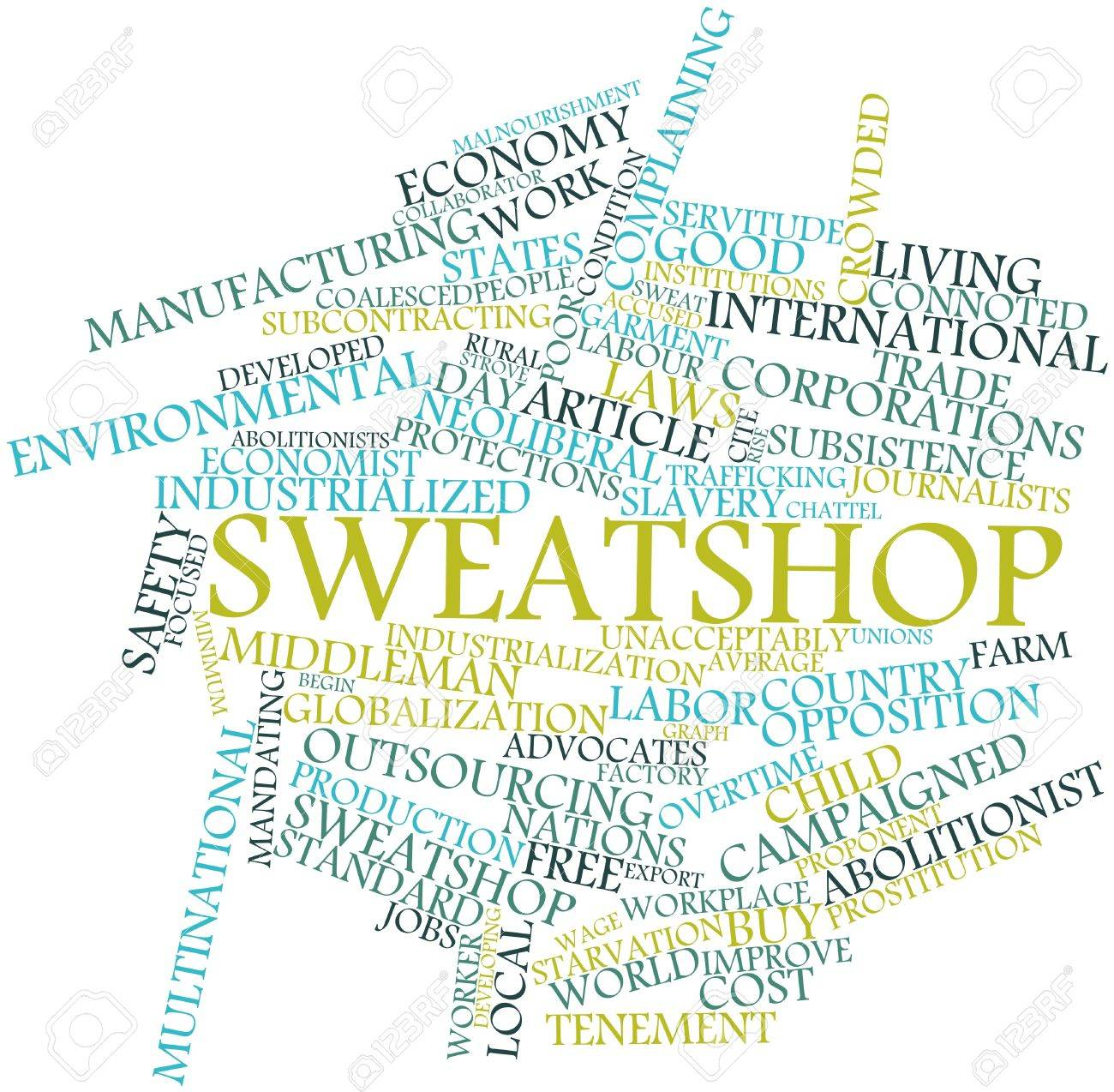 Abstract word cloud for Sweatshop with related tags and terms Stock Photo - 17398226
