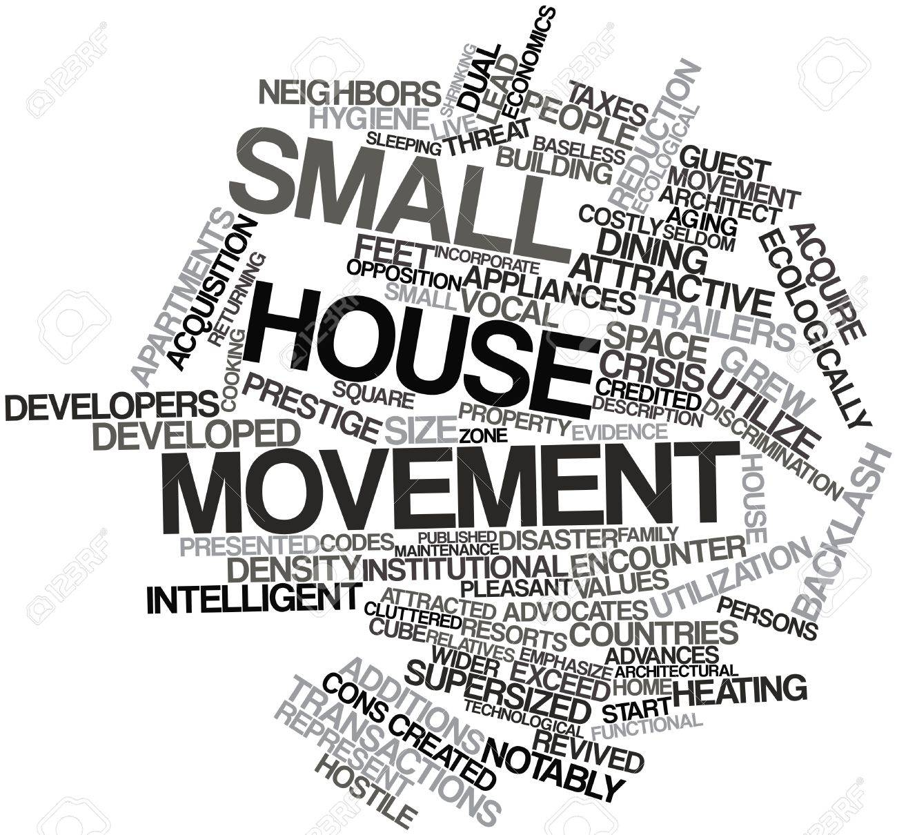 Abstract word cloud for Small house movement with related tags and terms Stock Photo - 17397726