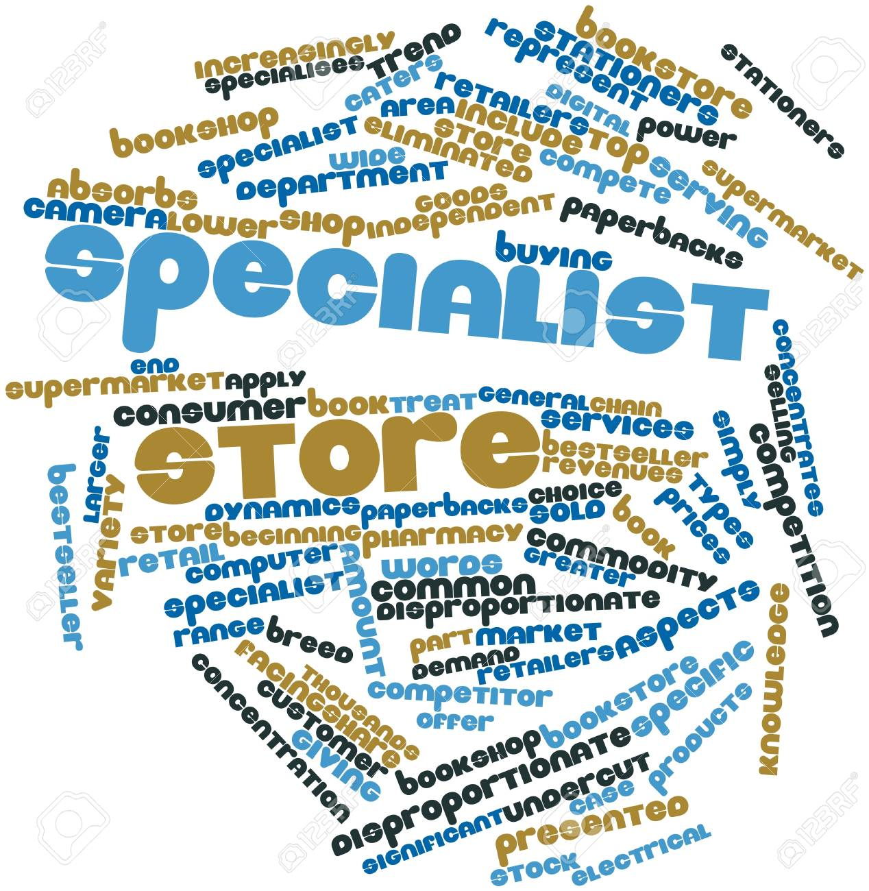 Abstract word cloud for Specialist store with related tags and terms Stock Photo - 17398119