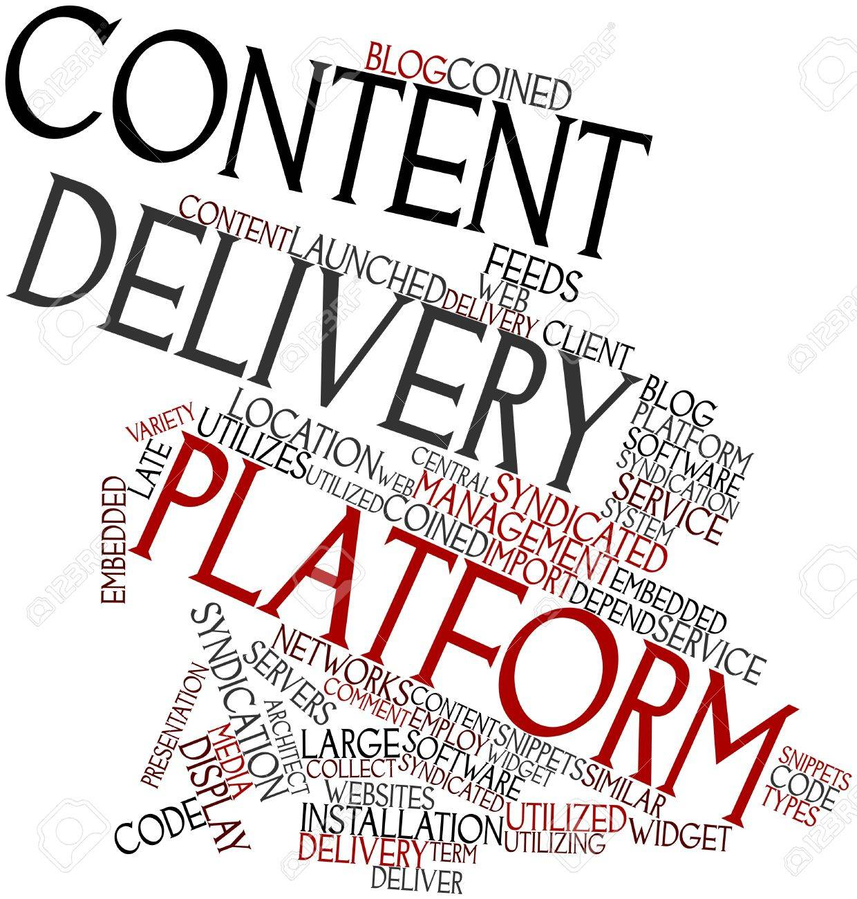 Abstract word cloud for Content delivery platform with related tags and terms Stock Photo - 17427492