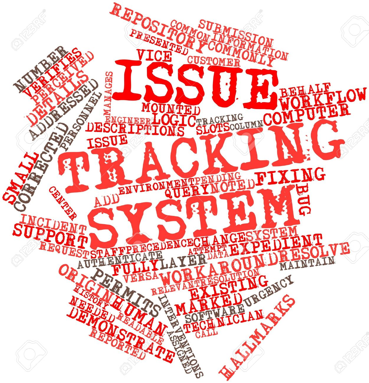 Abstract word cloud for Issue tracking system with related tags and terms Stock Photo - 17427785