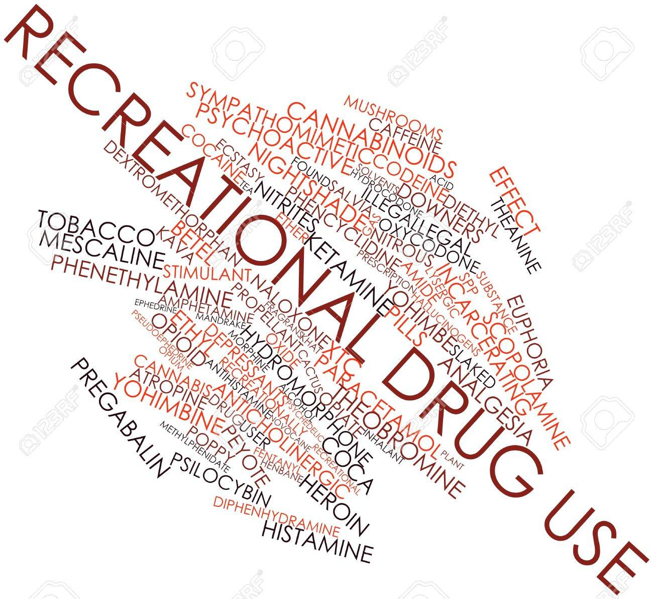 Abstract word cloud for Recreational drug use with related tags and terms Stock Photo - 17427558