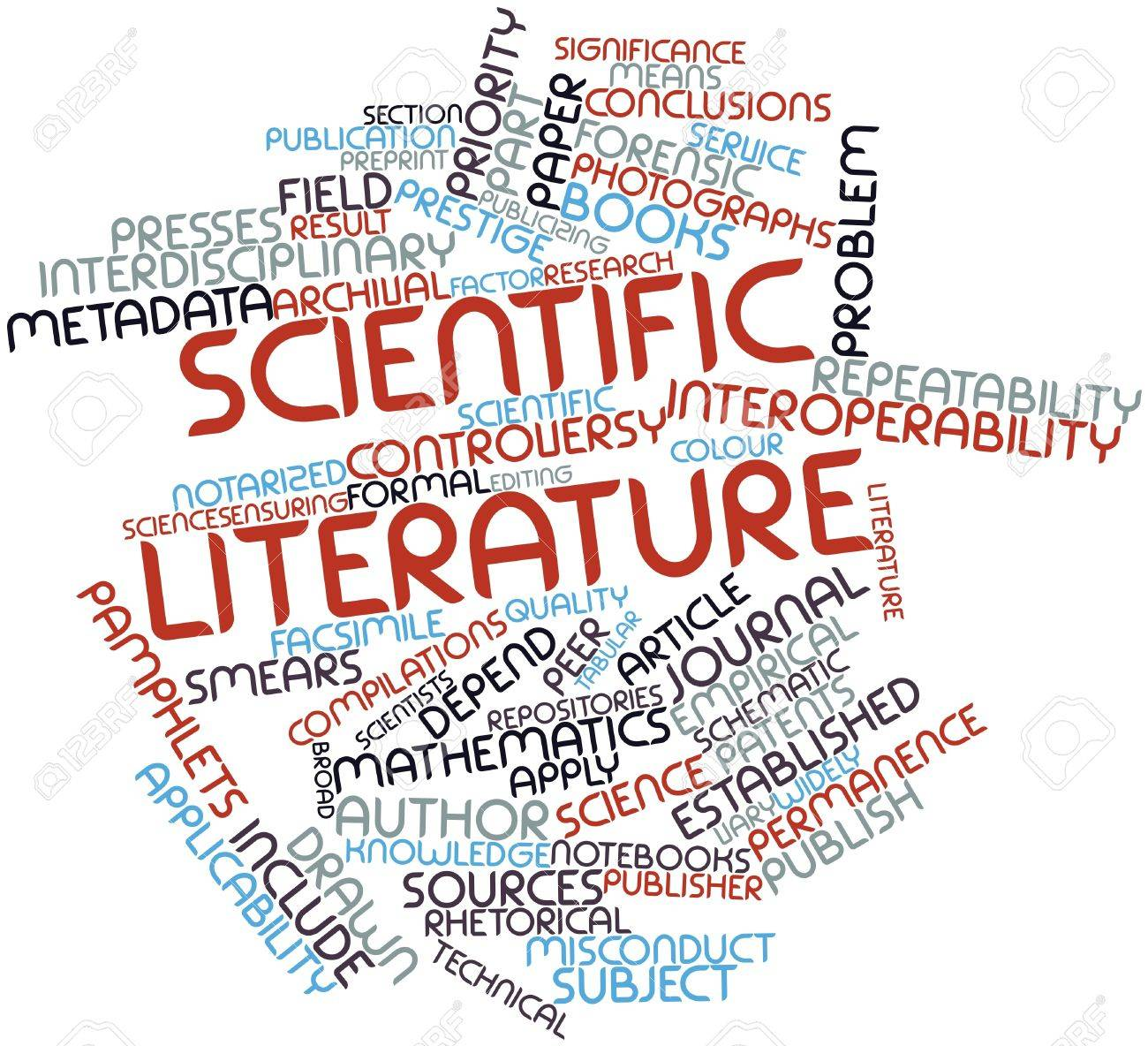 Abstract word cloud for Scientific literature with related tags and terms Stock Photo - 17427507