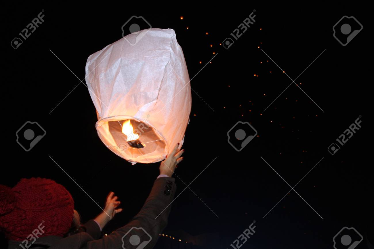 Sky Lanterns Floating In The Sky Deepavali Lights Festival Stock Photo Picture And Royalty Free Image Image 105969711