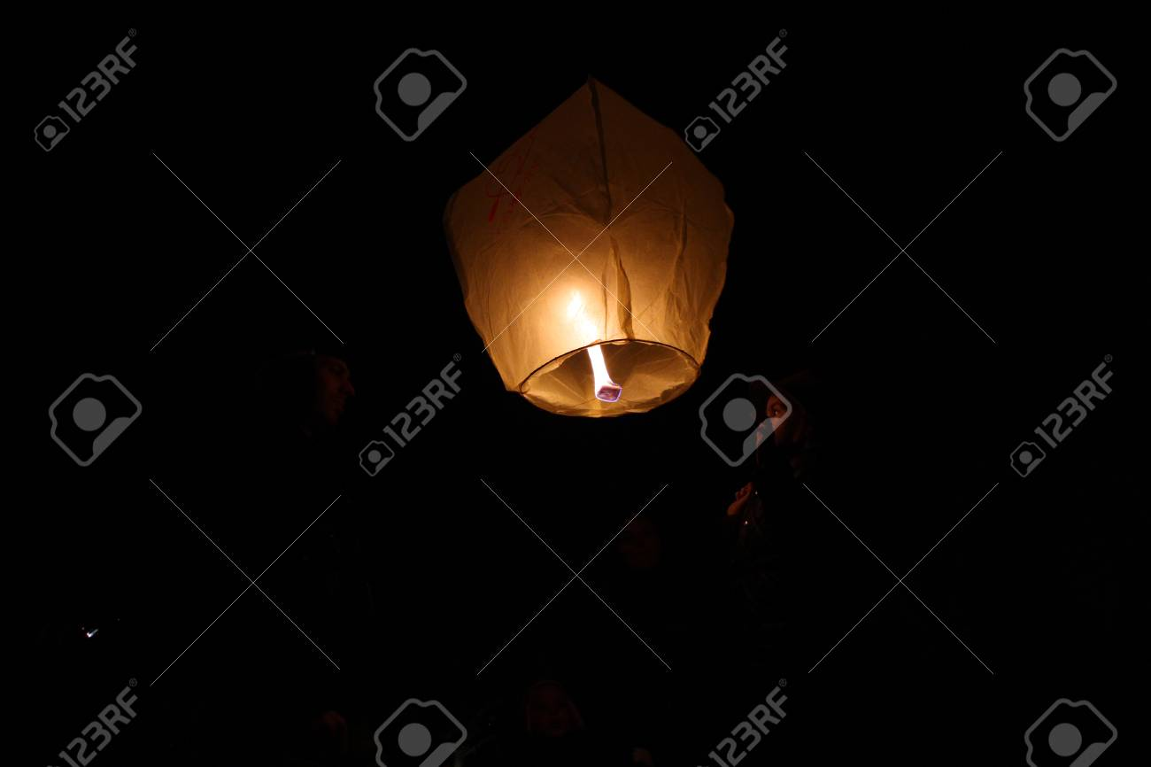 Sky Lanterns Floating In The Sky Deepavali Lights Festival Stock Photo Picture And Royalty Free Image Image 105969713