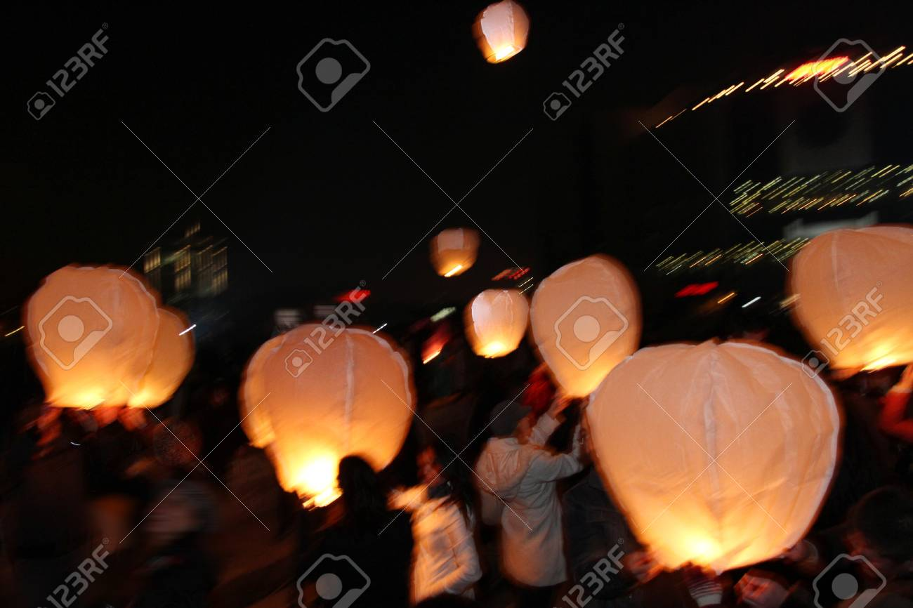 Sky Lanterns Floating In The Sky Deepavali Lights Festival Stock Photo Picture And Royalty Free Image Image 105962689