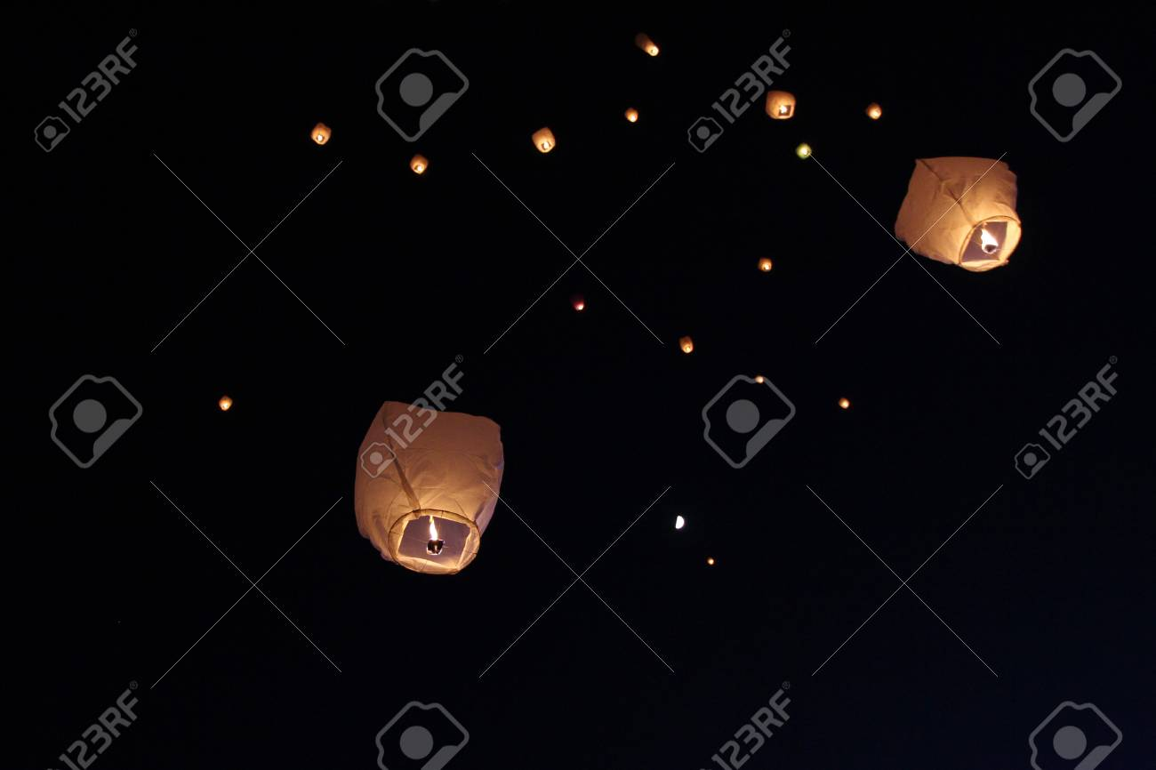 Sky Lanterns Floating In The Sky Deepavali Lights Festival Stock Photo Picture And Royalty Free Image Image 105969811