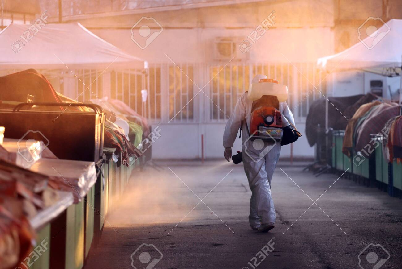 Disinfection and decontamination on a public place as a prevention against Coronavirus disease 2019, COVID-19. - 142850652