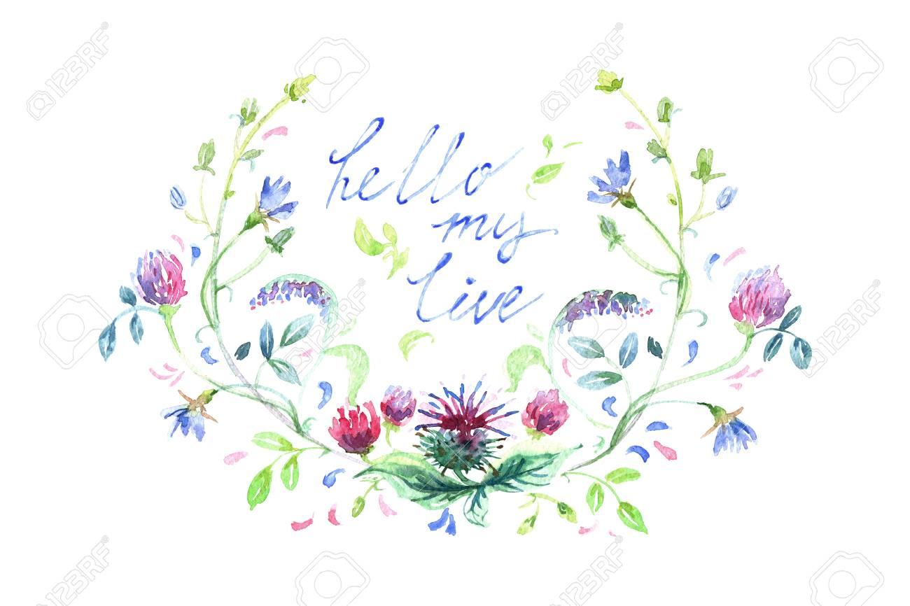 Flores Da Primavera Pintadas Em Aquarela Mão Ilustrações Desenhadas Isolado No Fundo Branco Pintura A Frase Hi Monday Para Blogueiros Buquê