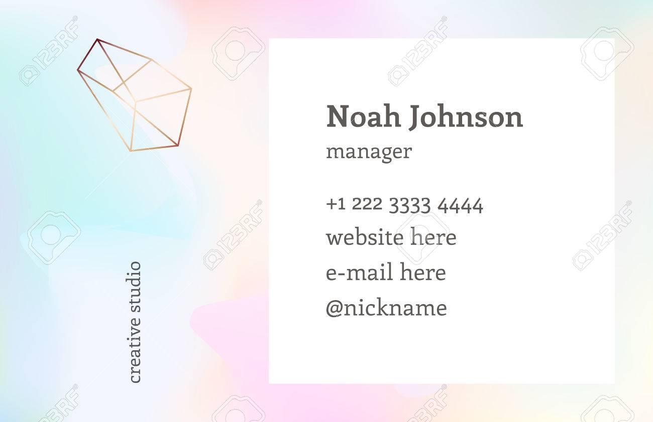 Rainbow hologram color double sided business card template with rainbow hologram color double sided business card template with a crystal logo corporate reheart Choice Image