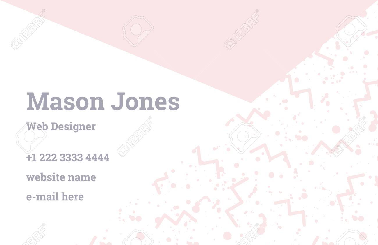 Fashion Business Card Template In The Style Of Memphis. Perfect ...