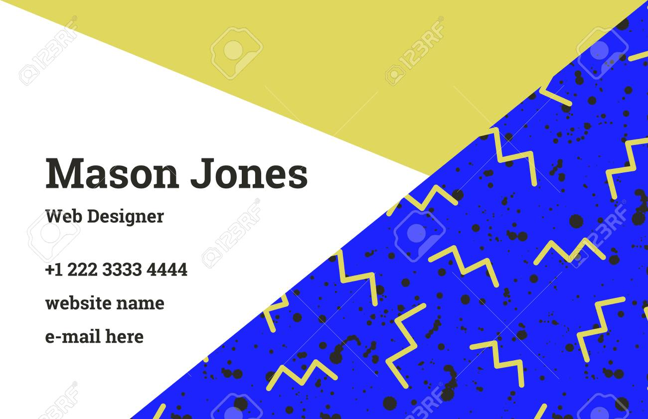 Fashion business card template in the style of memphis a perfect fashion business card template in the style of memphis a perfect combination of ocher and wajeb Images