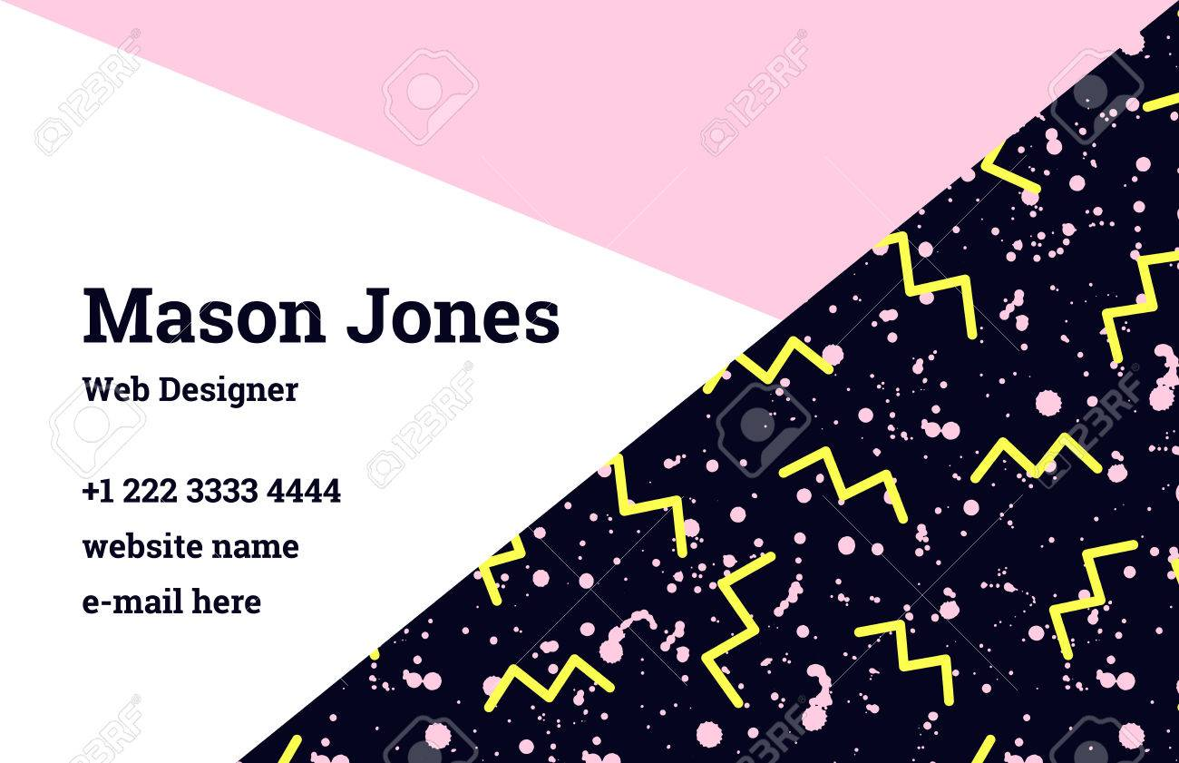 Fashion business card template in the style of memphis a perfect fashion business card template in the style of memphis a perfect combination of pink accmission Image collections