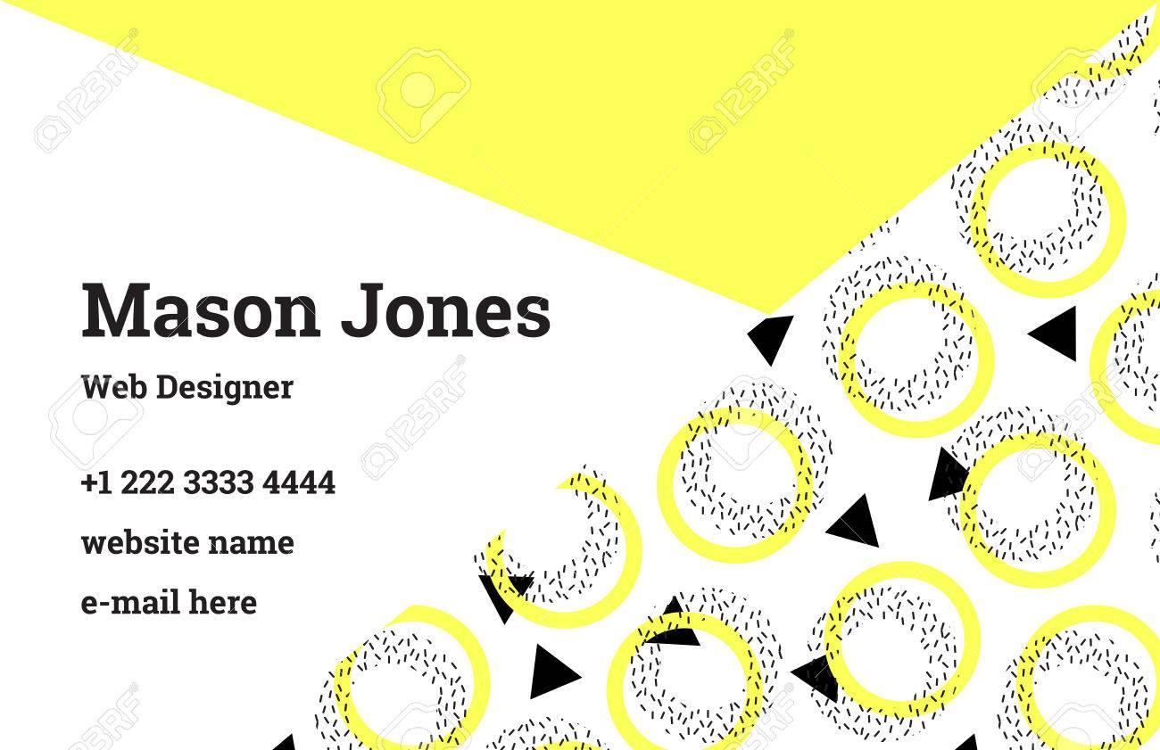 Modle De Carte Visite Mode Dans Le Style Memphis Une Combinaison Parfaite Jaune Citron Et Noir Formes Gomtriques