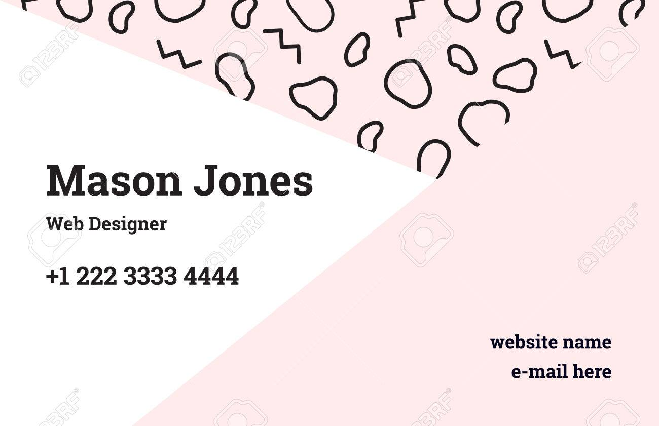 Fashion business card template in the style of memphis a perfect fashion business card template in the style of memphis a perfect combination of pastel pink flashek Images