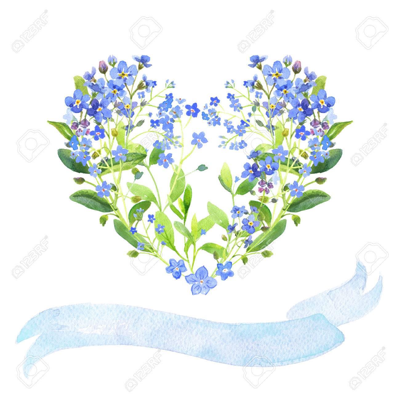 Acuarela En Forma De Corazón Y Conjunto De Cintas. Azul Nomeolvides ...
