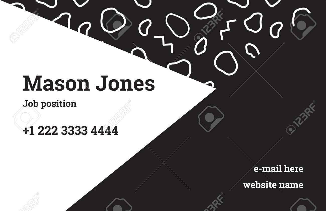 Modle De Carte Visite Mode Dans Le Style Memphis Une Combinaison Parfaite La Gomtrie Et Du Motif Organique Noir Les Zigzags Linaires