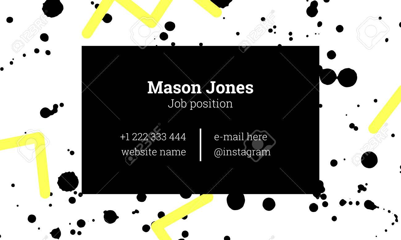 Fashion Business Card Template In The Style Of Memphis. Bright ...