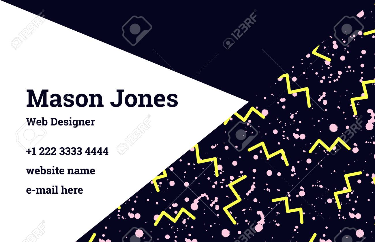Fashion business card template in the style of memphis pastel fashion business card template in the style of memphis pastel pink and black colors flashek Images