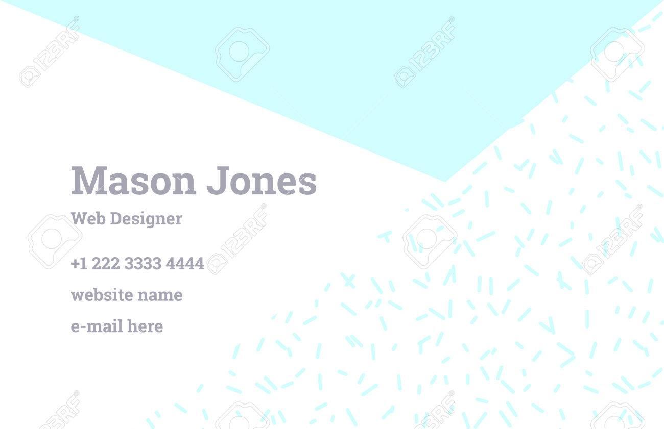 Modle De Carte Visite Mode Dans Le Style Memphis Combinaison Parfaite Motifs Organiques Et Formes Gomtriques Un Motif Triangle Bleu