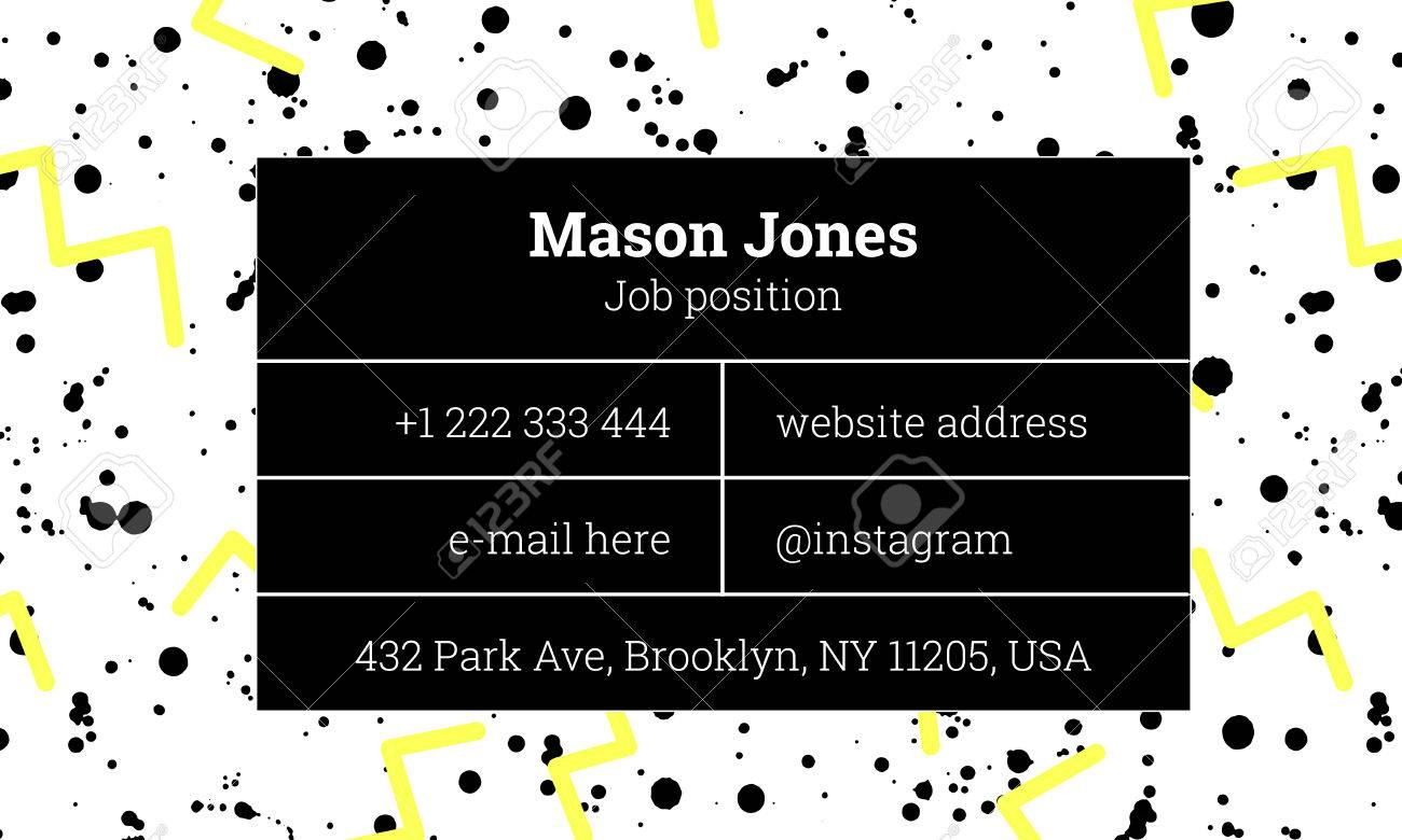 Bar Fashion Business Card Template In The Style Of Memphis. Bright ...