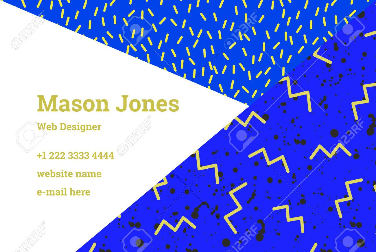 Business Card Template In The Style Of Memphis. Bright Yellow ...