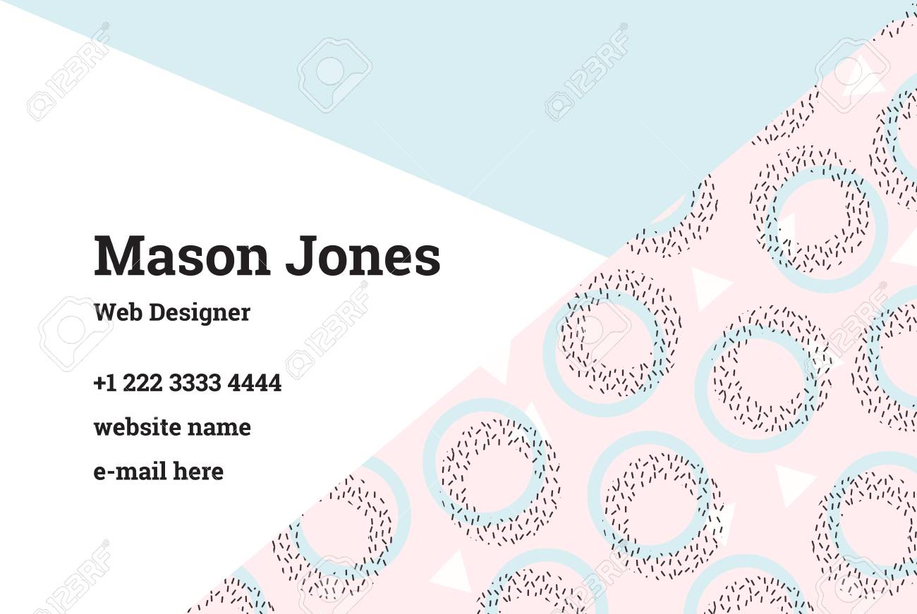 Business Card Template In The Style Of Memphis. A Perfect ...