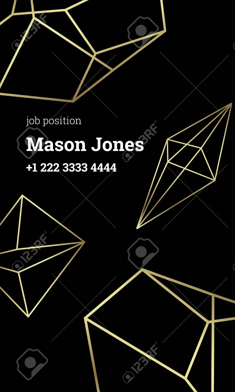 Black And Gold Business Card Template. US Standard Size 2x3.5 ...