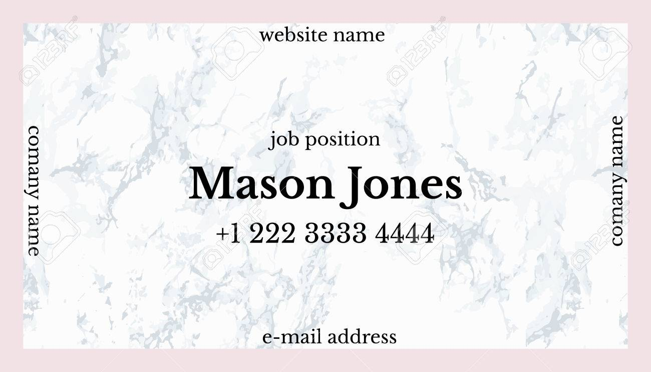 Trendy Pink And Gray Marble. Business Card Template. US Standard ...