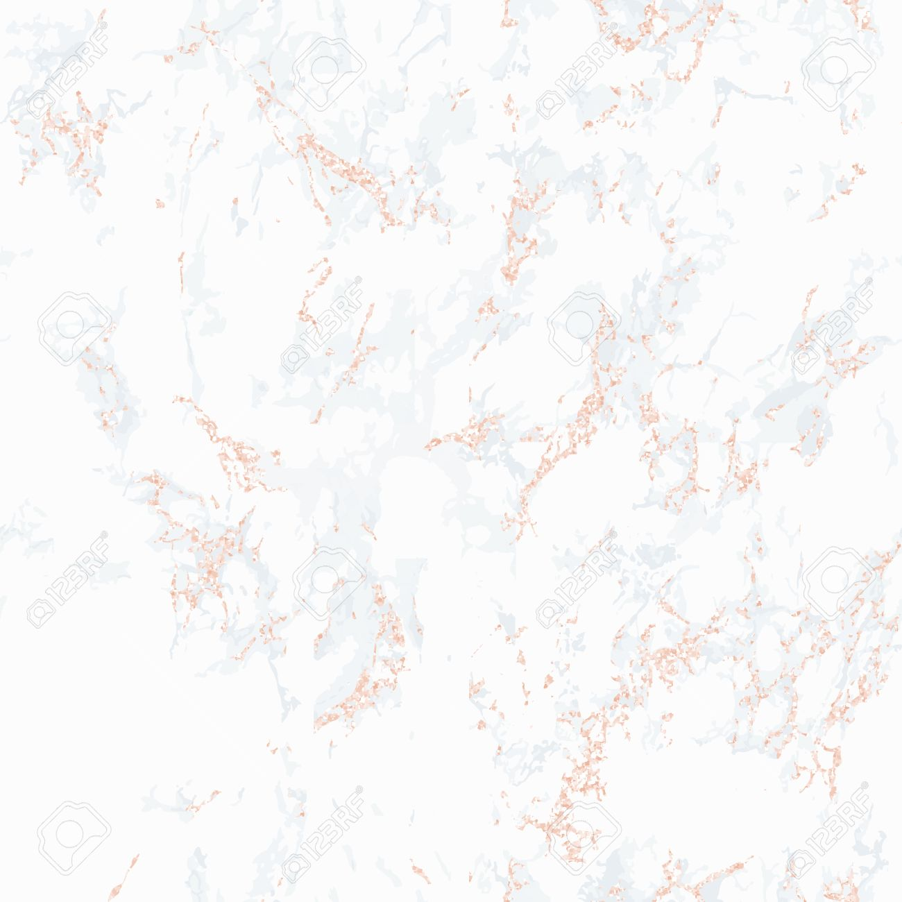 White Marble Texture With Rose Gold. Patina Effect. Seamless Pattern.  Overlay Distress Grain