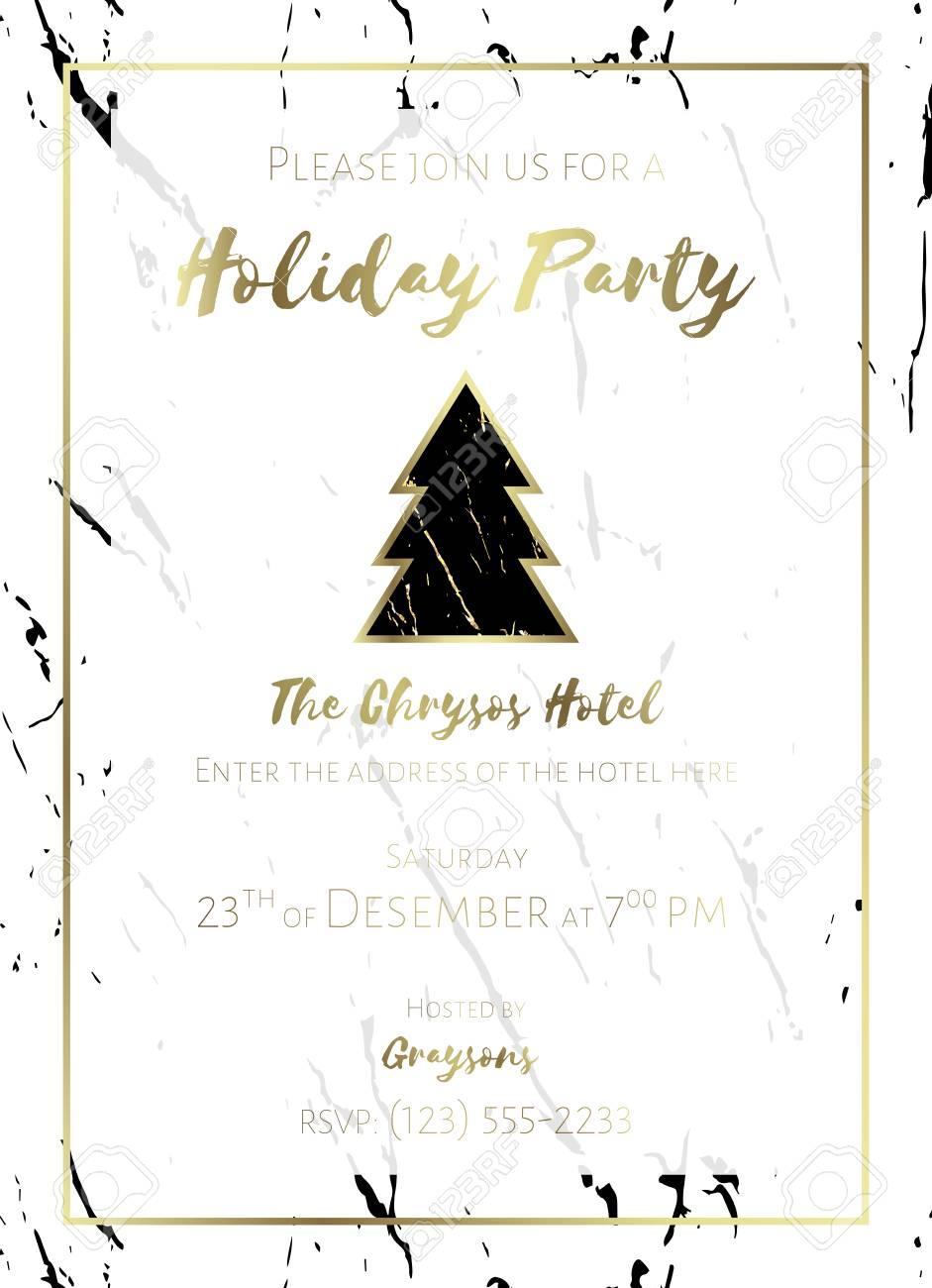 Invito A Una Festa Sfondo In Marmo Bianco E Nero E Testo In Oro Modello Di Progettazione Di Natale Per Flyer O Poster Modello Senza Cuciture