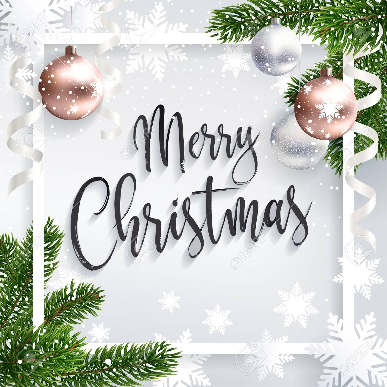Merry Christmas Inscription Greeting White Festive Background Royalty Free Cliparts Vectors And Stock Illustration Image 84792397