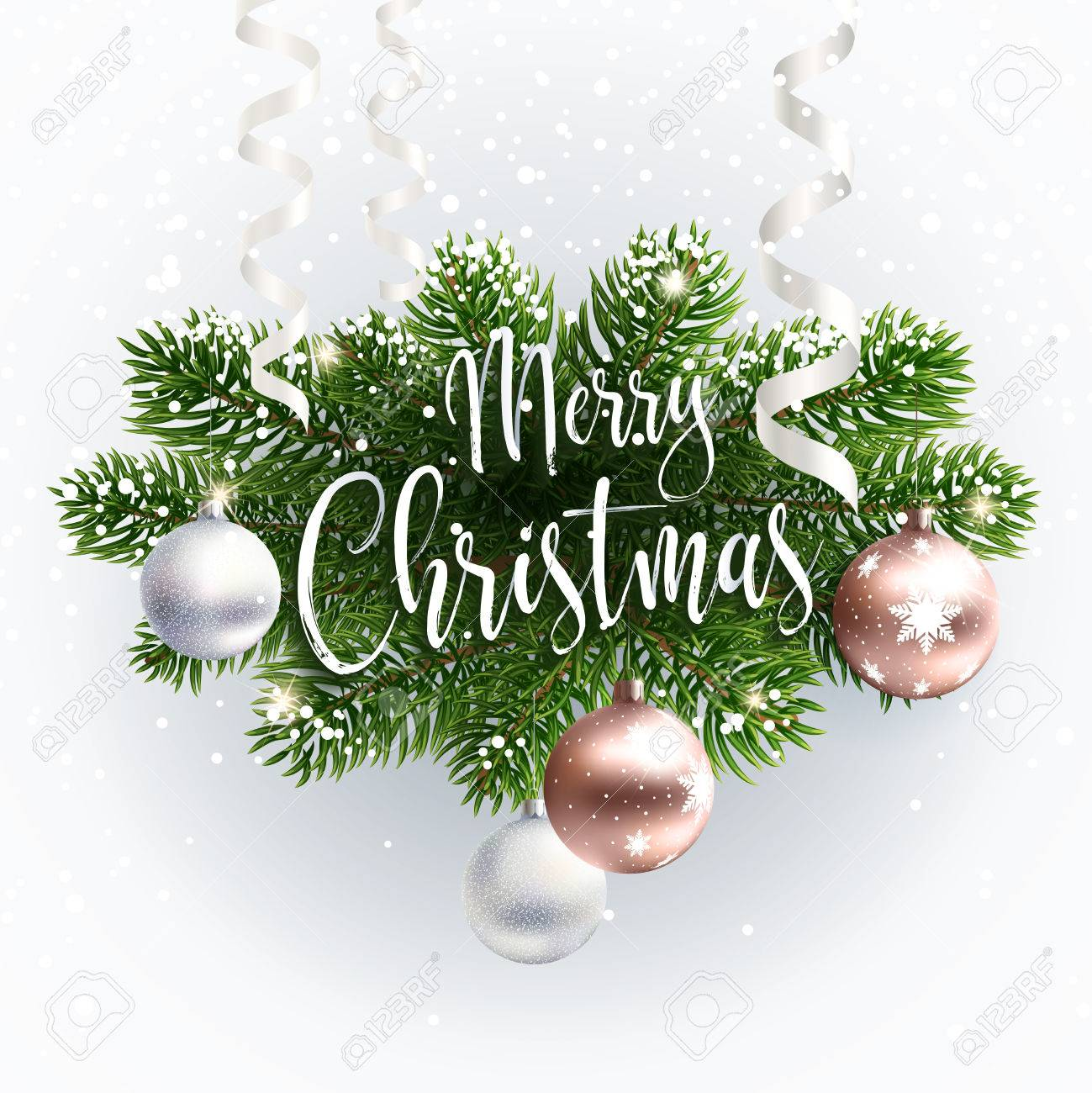 merry christmas inscription greeting white festive background with