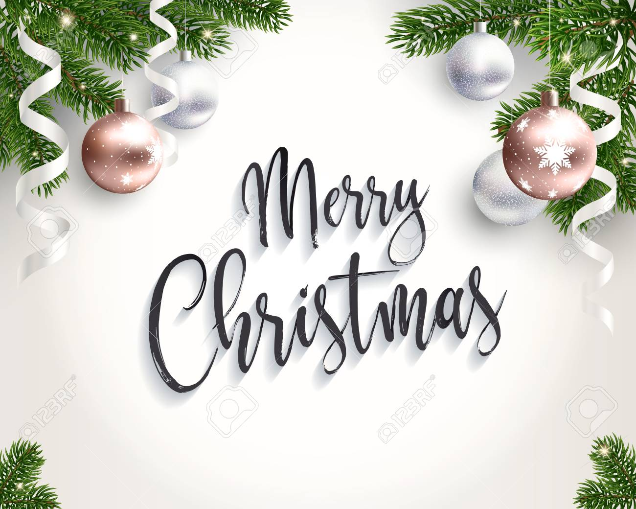 Merry Christmas Background.Merry Christmas Background For Congratulations Realistic Illustration