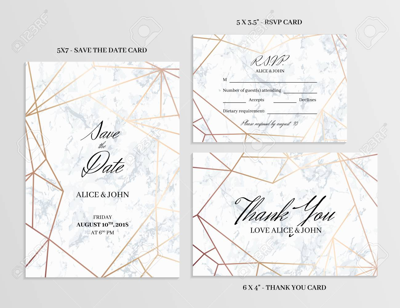 Wedding Set Save The Date Thank You And R S V P Cards Template
