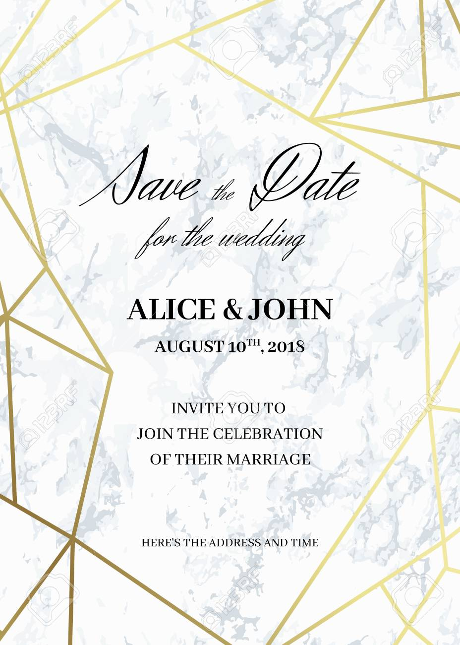 save the date card template of geometric design invitation to
