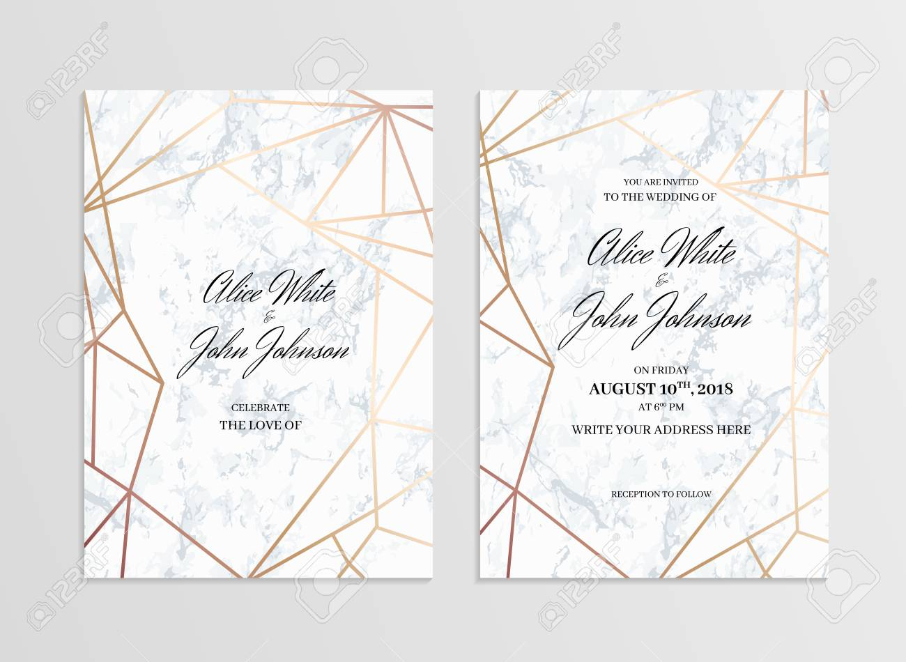 Invitation Card Template Of Geometric Design. Two Side. Invitation ...