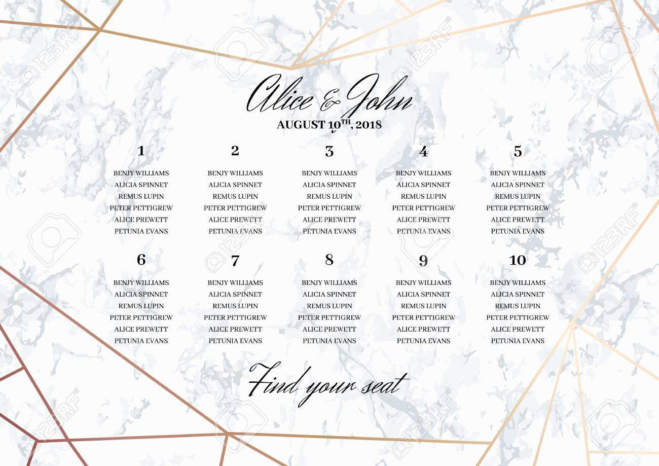 Wedding Seating Chart Poster Template Geometric Design In Rose