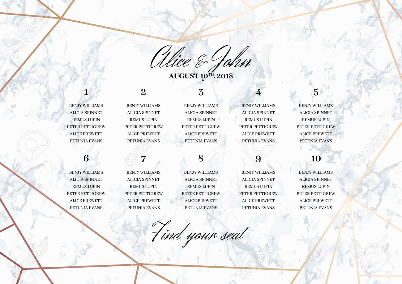 Seating Chart Wedding.Wedding Seating Chart Poster Template Geometric Design In Rose