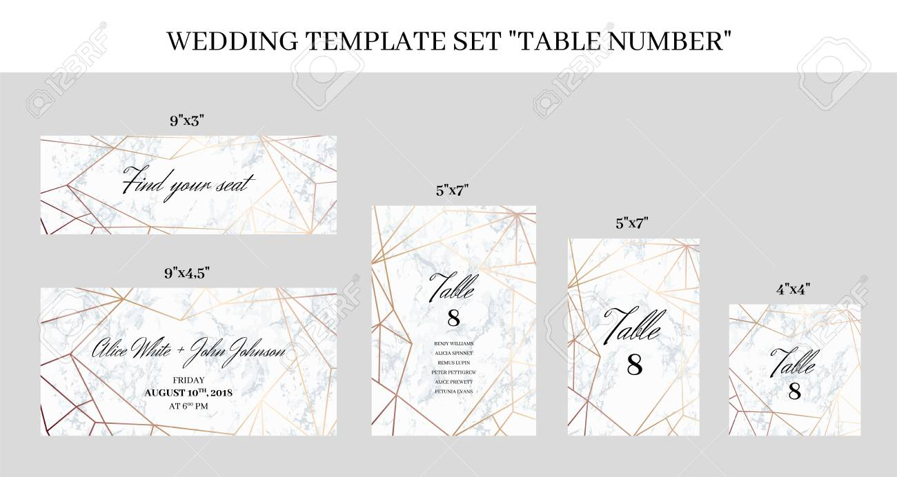 Wedding Template Set Table Number Cards White Marble Background