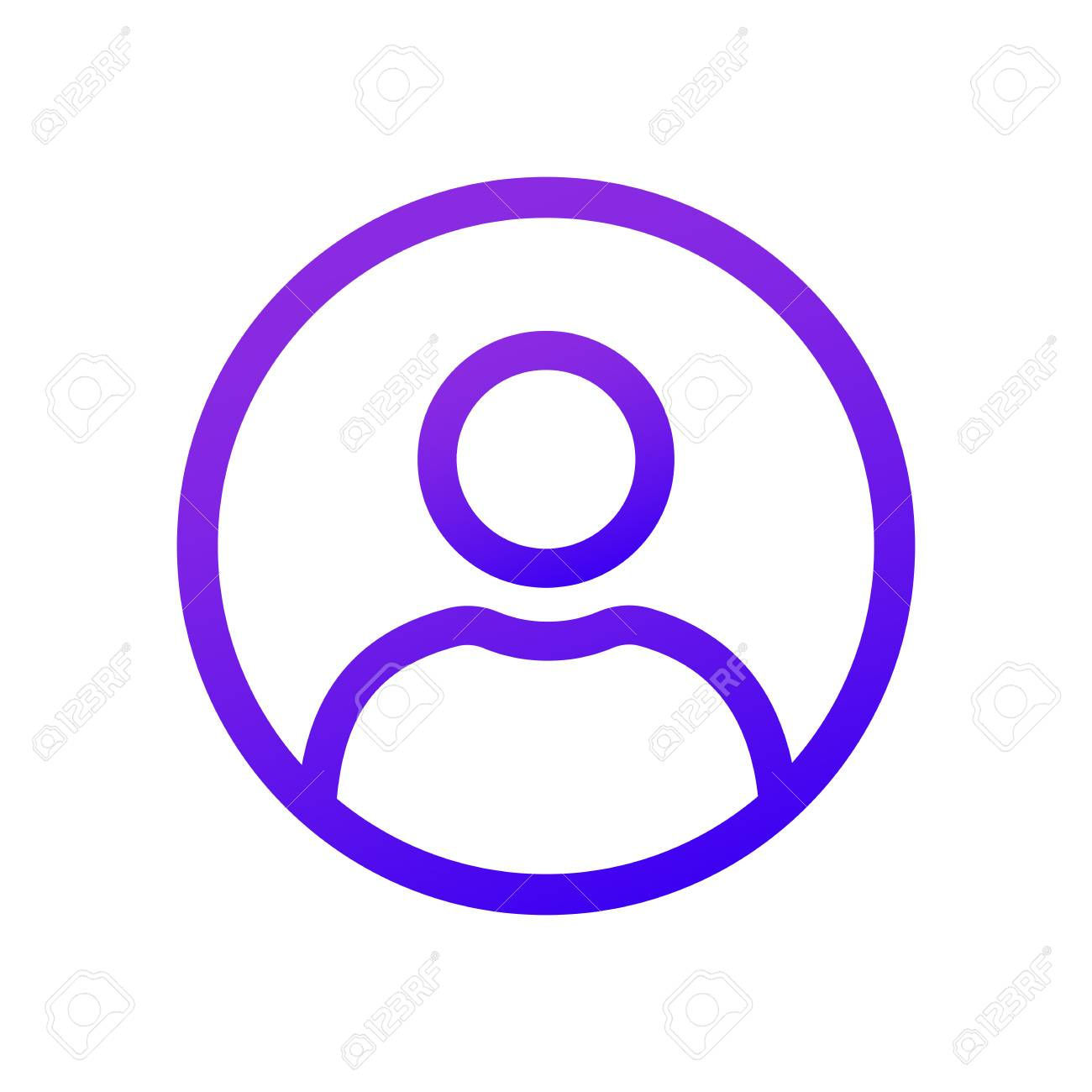 Purple user icon in the circle with shadow  A solid gradient
