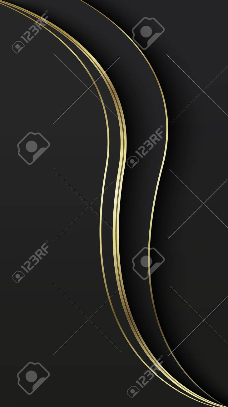 Abstract overlap wavy background  Paper cut  Black and gold