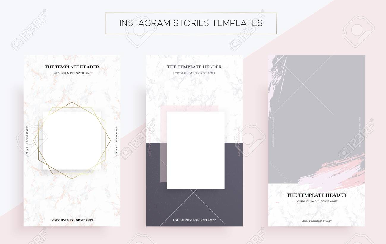 Instagram stories banner templates with Marble  Luxury style Vector