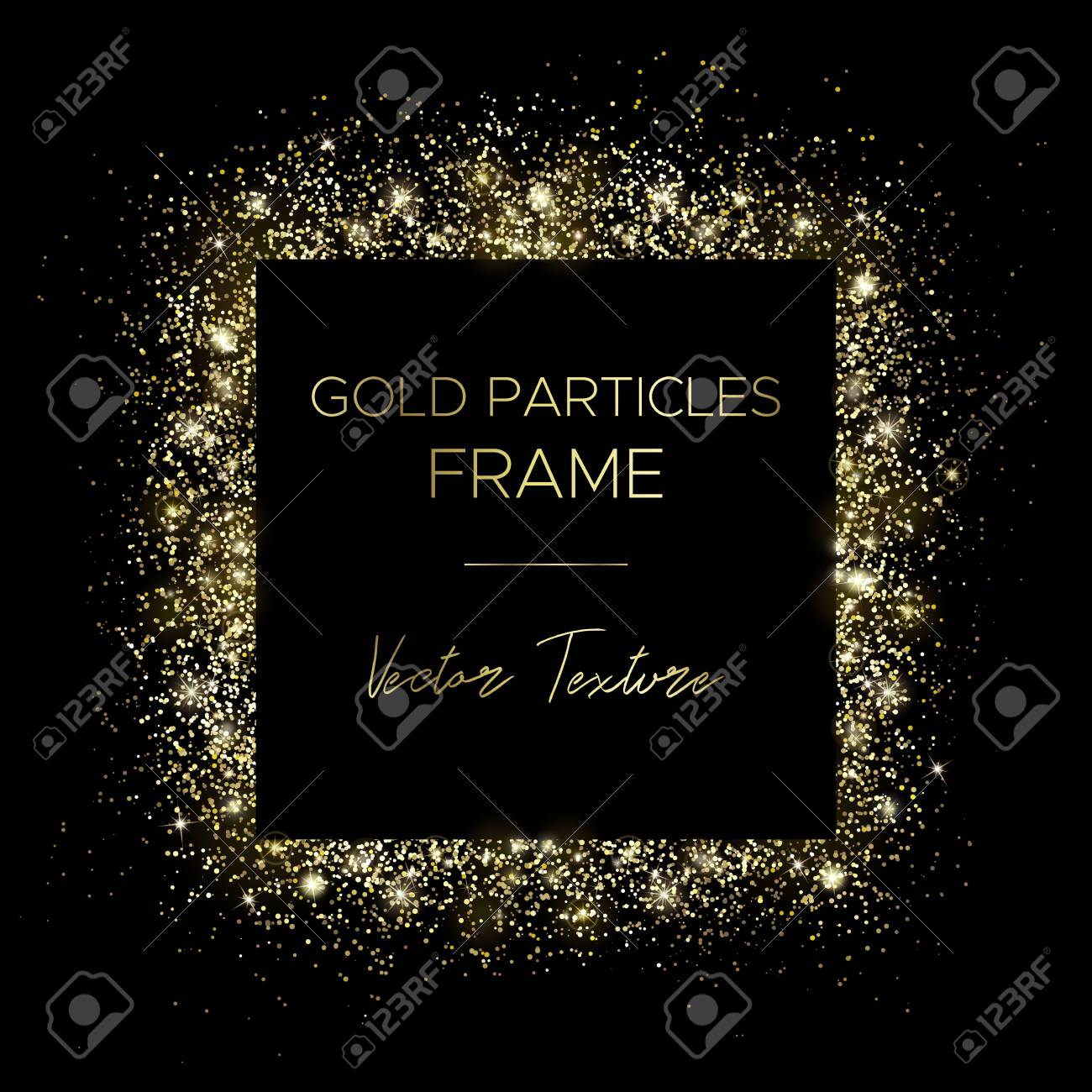 Golden square. Frame of gold particles and text in the center. Use for advertising, sale banner, postcard or cover. Box of golden powder and light effects. Luxury glitter sparkling and glowing sparks. - 122519667
