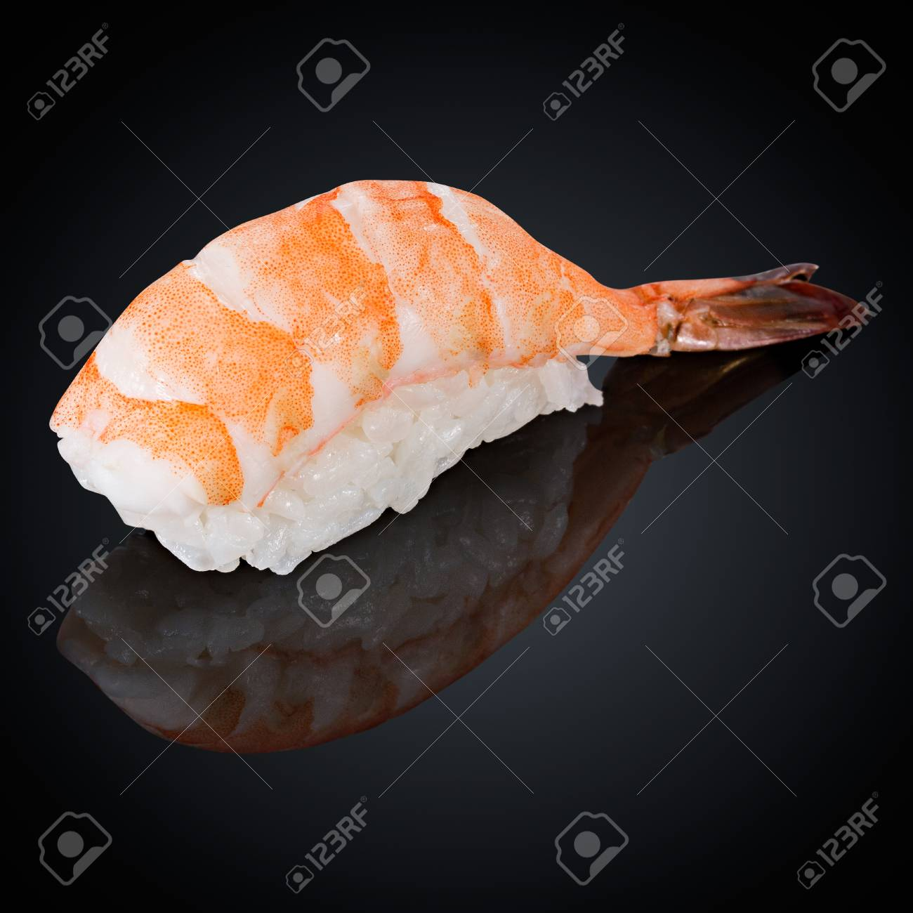 Ebi Sushi With Shrimp On A Black Background Stock Photo Picture And